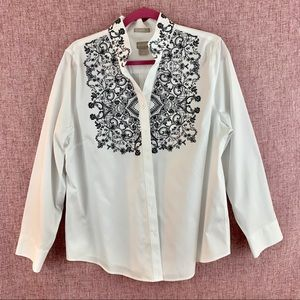 Chico's Long Sleeve White Button Up Shirt
